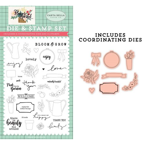 Carta Bella Paper - Flower Market Collection - Designer Dies and Clear Photopolymer Stamp Set - Beauty All Around
