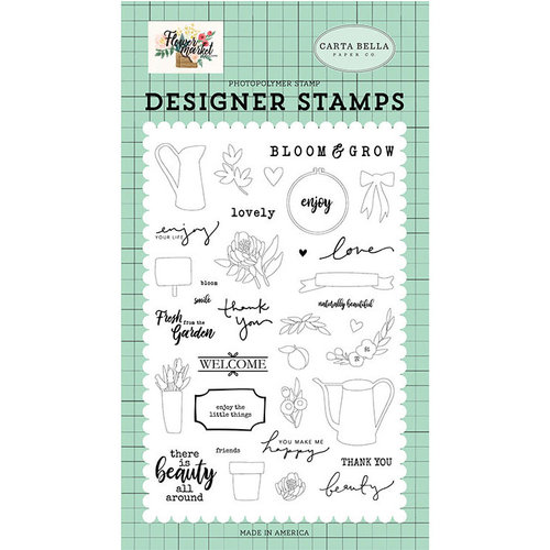 Carta Bella Paper - Flower Market Collection - Clear Photopolymer Stamps - Beauty All Around