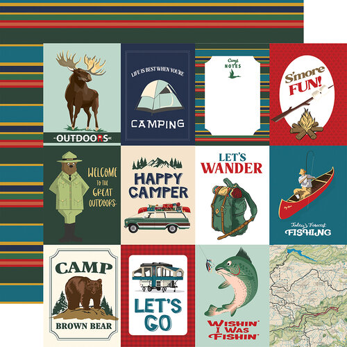 Carta Bella Paper - Outdoor Adventures Collection - 12 x 12 Double Sided Paper - 3 x 4 Journaling Cards