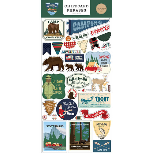 Carta Bella Paper - Outdoor Adventures Collection - Chipboard Stickers - Phrases