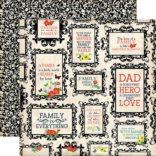 Carta Bella Paper - Our Family Collection - 12 x 12 Double Sided Paper - Heart of the Home