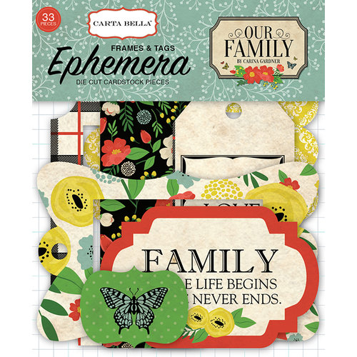 Carta Bella Paper - Our Family Collection - Ephemera - Frames and Tags