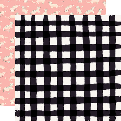 Carta Bella Paper - Our House Collection - 12 x 12 Double Sided Paper - Black Gingham