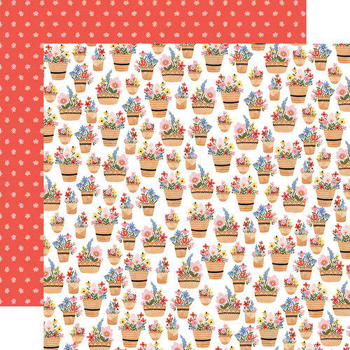 Carta Bella Paper - Oh Happy Day Collection - 12 x 12 Double Sided Paper - Basket of Flowers