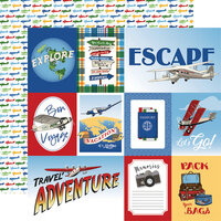 Carta Bella Paper - Our Travel Adventure Collection - 12 x 12 Double Sided Paper - Multi Journaling Cards