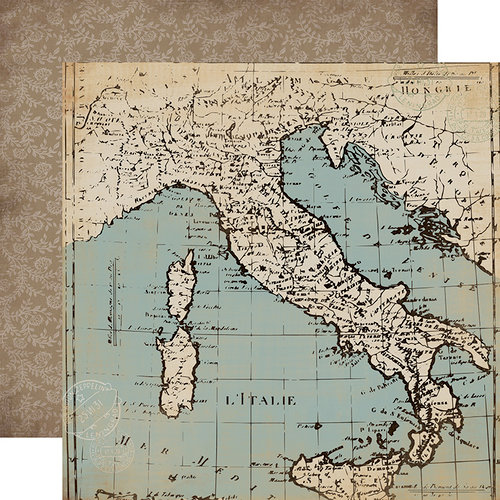 Carta Bella Paper - Old World Travel Collection - 12 x 12 Double Sided Paper - Old World Map
