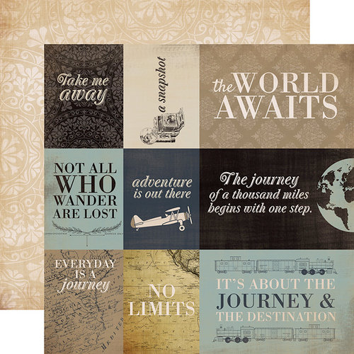 Carta Bella Paper - Old World Travel Collection - 12 x 12 Double Sided Paper - Journaling Cards