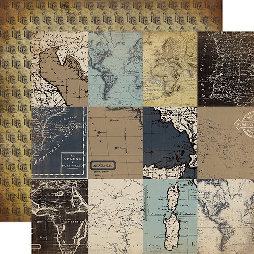 Carta Bella Paper - Old World Travel Collection - 12 x 12 Double Sided Paper - 3 x 4 Journaling Cards
