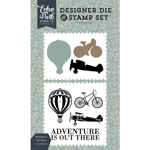 Carta Bella Paper - Old World Travel Collection - Designer Die and Clear Acrylic Stamp Set - Adventure is Out There