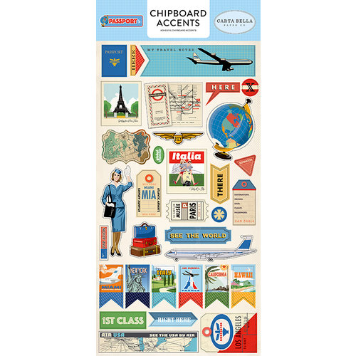 Carta Bella Paper - Passport Collection - Chipboard Stickers - Accents