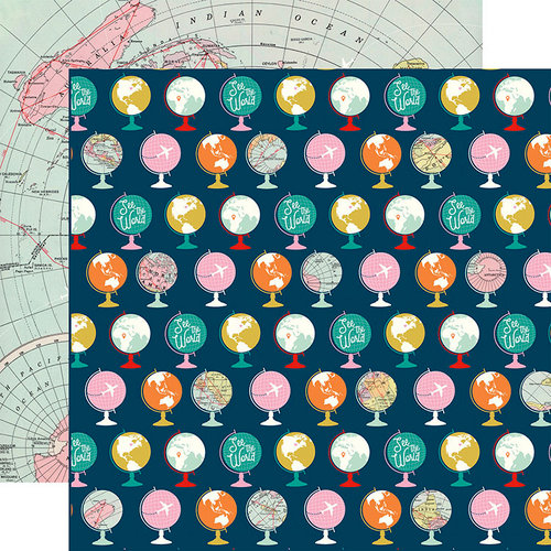 Carta Bella Paper - Pack Your Bags Collection - 12 x 12 Double Sided Paper - Travel the World