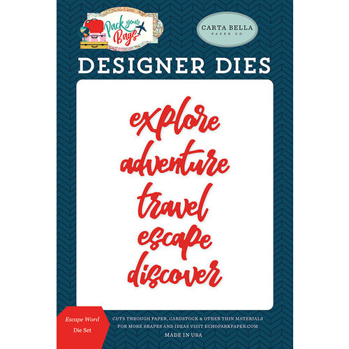 Carta Bella Paper - Pack Your Bags Collection - Designer Dies - Escape Word