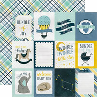 Carta Bella Paper - Rock-A-Bye Baby Boy Collection - 12 x 12 Double Sided Paper - 3 x 4 Journaling Cards