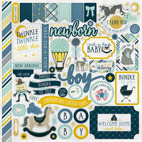 Carta Bella Paper - Rock-A-Bye Baby Boy Collection - 12 x 12 Cardstock Stickers - Elements