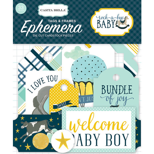 Carta Bella Paper - Rock-A-Bye Baby Boy Collection - Ephemera - Frames and Tags