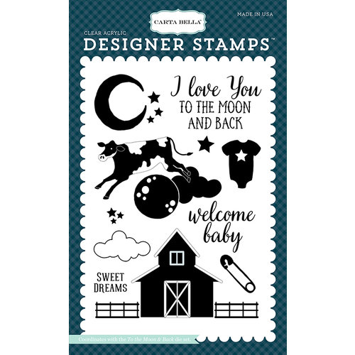 Carta Bella Paper - Rock-A-Bye Baby Boy Collection - Clear Acrylic Stamps - To The Moon and Back
