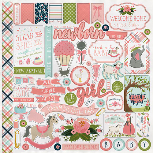Carta Bella Paper - Rock-A-Bye Baby Girl Collection - 12 x 12 Cardstock Stickers - Elements