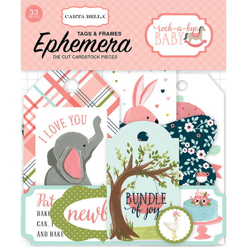 Carta Bella Paper - Rock-A-Bye Baby Girl Collection - Ephemera - Frames and Tags