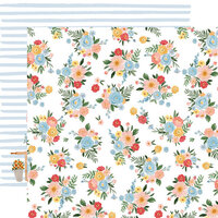 Carta Bella Paper - Summer Collection - 12 x 12 Double Sided Paper - Floral Bunches