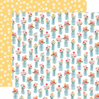 Carta Bella Paper - Summer Collection - 12 x 12 Double Sided Paper - Floral Jars