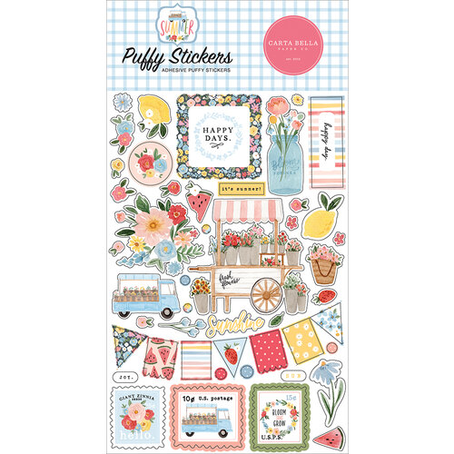 Carta Bella Paper - Summer Collection - Puffy Stickers