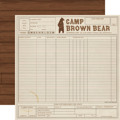 Carta Bella Paper - Summer Camp Collection - 12 x 12 Double Sided Paper - Camp Ledger