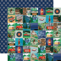 Carta Bella Paper - Summer Camp Collection - 12 x 12 Double Sided Paper - Summer Camp Squares