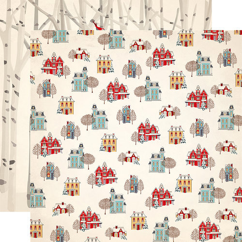 Carta Bella Paper - Snow Fun Collection - 12 x 12 Double Sided Paper - Winter Cottages