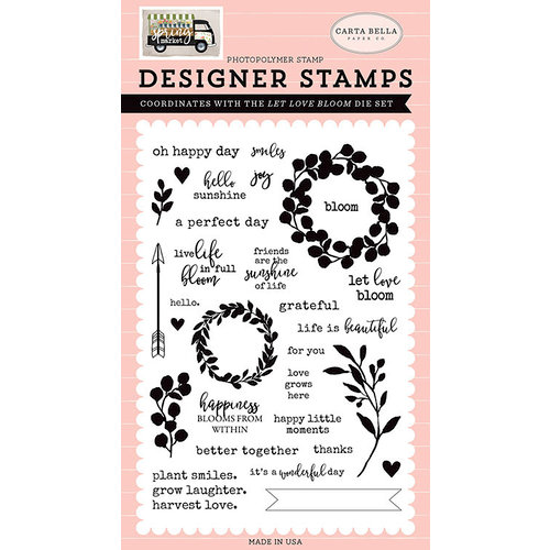 Carta Bella Paper - Spring Market Collection - Clear Photopolymer Stamps - Let Love Bloom