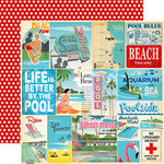 Carta Bella Paper - Summer Splash Collection - 12 x 12 Double Sided Paper - Vacation Journaling Cards