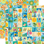Carta Bella Paper - Summer Splash Collection - 12 x 12 Double Sided Paper - Beach Squares
