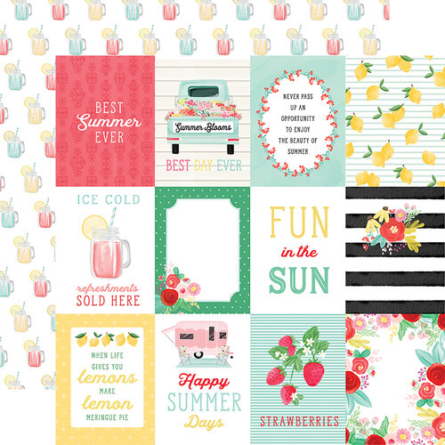 Carta Bella Paper - Summer Market Collection - 12 x 12 Double Sided Paper - 3 x 4 Journaling Cards