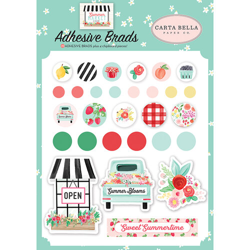Carta Bella Paper - Summer Market Collection - Self Adhesive Decorative Brads