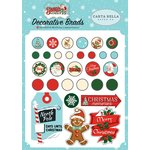 Carta Bella Paper - Santa's Workshop Collection - Christmas - Decorative Brads