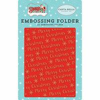 Carta Bella Paper - Santa's Workshop Collection - Christmas - Embossing Folder - Merry Christmas Snowflake