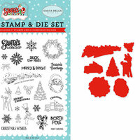 Carta Bella Paper - Santa's Workshop Collection - Christmas - Designer Die and Clear Acrylic Stamp Set - To All A Good Night