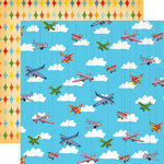 Carta Bella Paper - Toy Box Collection - 12 x 12 Double Sided Paper - Airplanes Soaring