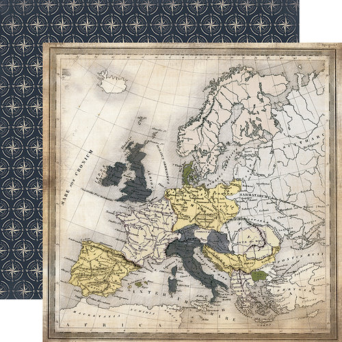 Carta Bella Paper - Transatlantic Travel Collection - 12 x 12 Double Sided Paper - Travel Map