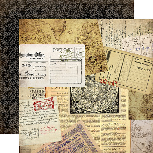Carta Bella Paper - Transatlantic Travel Collection - 12 x 12 Double Sided Paper - Air Mail
