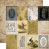 Carta Bella Paper - Transatlantic Travel Collection - 12 x 12 Double Sided Paper - 3 x 4 Journaling Cards