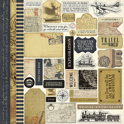 Carta Bella Paper - Transatlantic Travel Collection - 12 x 12 Cardstock Stickers