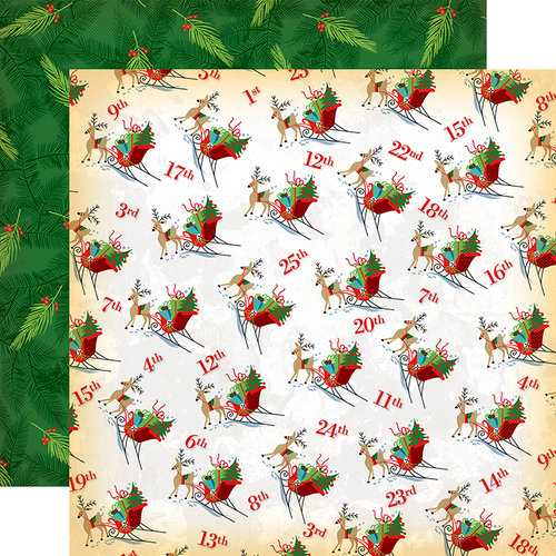 Carta Bella Paper - A Very Merry Christmas Collection - 12 x 12 Double Sided Paper - Christmas Countdown