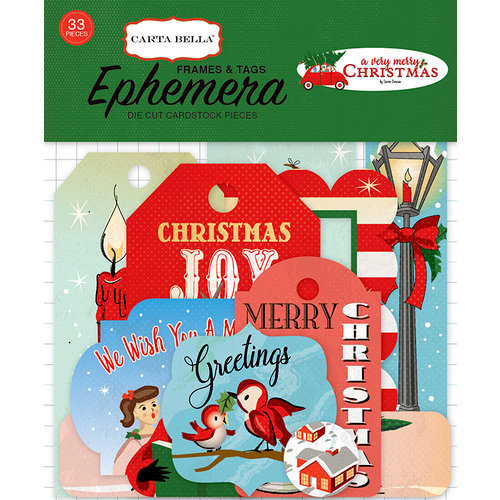 Carta Bella Paper - A Very Merry Christmas Collection - Ephemera - Frames and Tags