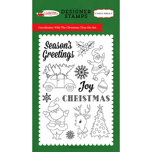 Carta Bella Paper - A Very Merry Christmas Collection - Clear Acrylic Stamps - Christmas Time