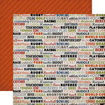 Carta Bella - Work Hard Play Hard Collection - 12 x 12 Double Sided Paper - Sport Words