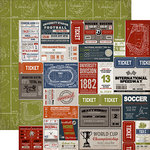 Carta Bella - Work Hard Play Hard Collection - 12 x 12 Double Sided Paper - Sport Labels