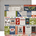 Carta Bella - Work Hard Play Hard Collection - 12 x 12 Double Sided Paper - Travel Labels