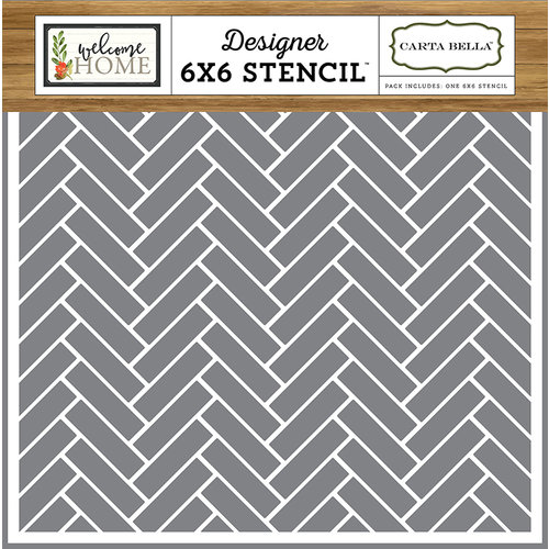 Carta Bella Paper - Welcome Home Collection - 6 x 6 Stencil - Chevron Tiles