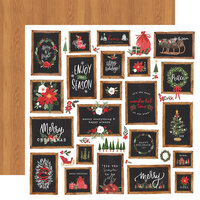 Carta Bella Paper - Happy Christmas Collection - 12 x 12 Double Sided Paper - Christmas Signs