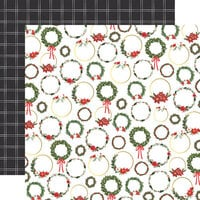 Carta Bella Paper - Happy Christmas Collection - 12 x 12 Double Sided Paper - Christmas Wreaths